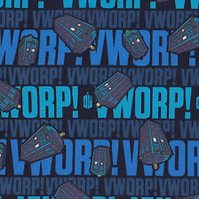Dr Who Tardis Vworp Police Boxes TV Series Sci-Fi Licensed Fabric FQ / Metre NEW