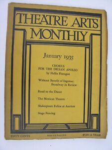THEATRE ARTS MONTHLY Jan 1935 Barry Fitzgerald Hallie Flanagan Mexico Fencing