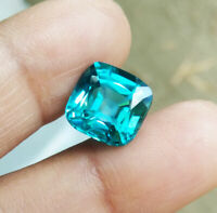 RARE COLOR! 10x10mm.CUSHION NEON BLUE PARAIBA TOURMALINE TOP CREATED GEMs