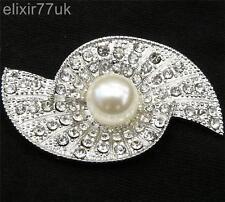 Regno Unito Argento SPILLA GRANDE FAUX PEARL Strass Crystal Pin Spilla Nuziale