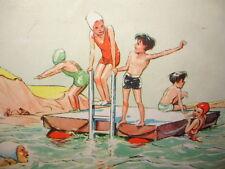 ENFANTINA / LA NATATION  illustré couleur des années 1940/50