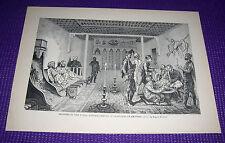 1899 Antique Print Manners of Turks Entertainment Travelers Ak-Serei Burnand