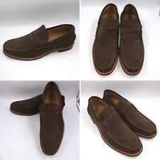 🌟Russell & Bromley Size 9.5 43.5 Olive Green Suede College Loafers Shoes Mens