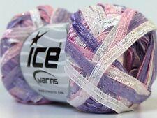 """White Pink Lilac Satin Ribbon Yarn w/ Stitch Detail Ice 24125 50gr 82yds x 1/4""""w"""