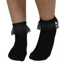Lace Frill Bobby Ankle Socks 1950s Rock & Roll Black Pink Fancy Dress Accessory