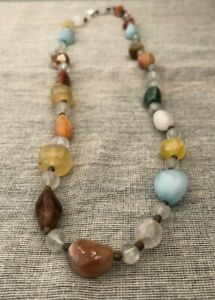 Handmade Multi Colored Natural Stone Beaded Necklace for Women