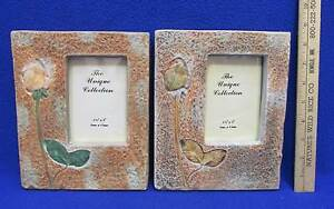Flower Picture Frame Resin Embossed Floral 3.5 x 5 Pair Easel Back Set of 2