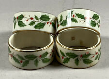 Lenox Holiday Napkin Rings Holly Berry and Leaves Set of 4