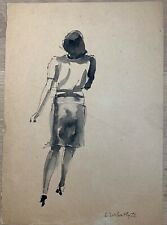 Lithuanian Elena Urbaityte Ink on paper 1950's