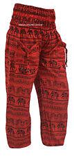 INDIAN COTTON RED ELEPHANT PRINT YOGA ALI BABA BOHO HIPPIE WOMAN PANT TROUSER