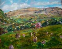 ORIGINAL SIGNED Impressionism Red Clover Swaledale OIL PAINTING Yorkshire DALES
