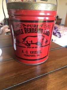 Vintage PURE KETTLE RENDERED LARD Red tin pig can A.G. Kriebel Hereford PA