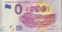 BILLET 0  EURO MONESTIR DE SANT LLORENC  ESPAGNE  2018   NUMERO 4400