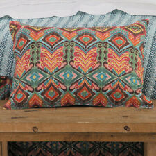 2 Dakota Pillow Shams Standard Size Quilted Cotton Turquoise Red Southwestern