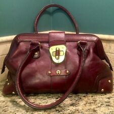 VINTAGE ETIENNE AIGNER Genuine Leather Burgundy Handbag Purse DR BAG SATCHEL