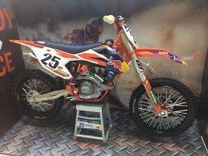 Neuf Ray Marvin Musquin KTM Sxf 450 1:10 Moulé Motocross Toy Modèle Vélo Orange