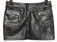 OASIS real leather mini skirt with zips black size 12