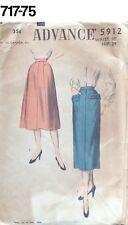 VTG Sewing Pattern Advance #5912 Size Waist 30 Hip 39 Pencil Skirt 1949 New Look