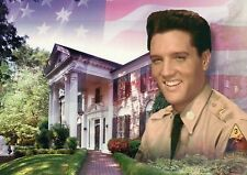 Elvis Presley in His Army Uniform at Graceland, Memphis Tennessee, TN - Postcard