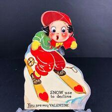 Vtg Antique Valentines Card Snow Skiing Sport Ski Slopes Mechanical 1920s 30s