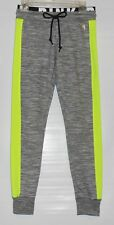 Victoria's Secret Pink Marled Logo Gym Pant Light Marl Gray & Neon Lemon XS NWT