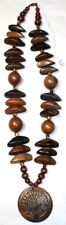 African Large Brown Beaded Necklace With Tree Pendant Beautiful Fashion Jewelry