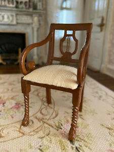 Vintage Miniature Dollhouse 1:12 Bespaq Wood Harp Back Silk Upholstered Chair