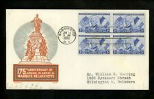 US FDC #1010 2nd Day Cachet Craft / Boll 1952 Washington DC Marquis de Lafayette