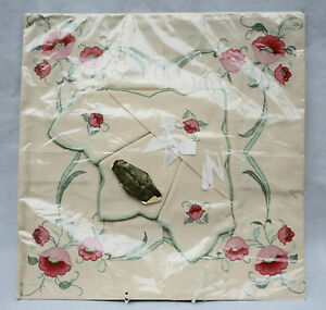 "Mint Vintage Embroidered Tablecloth 34"" square & 4 Napkins in original packing"