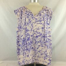 NWT Juicy Couture Sleeveless Pink Lavender Watercolor Blouse Size X Large XL