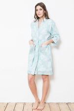 6e94ecb0c3 Cottonreal 100% Cotton Batiste Song Bird Print Mint Green Kimono Wrap Robe
