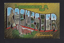 Rochester Minnesota MN c1940s LARGE LETTER Post Card, City Scenes in Inside