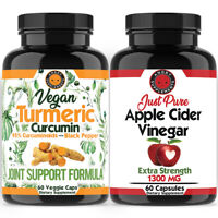 ACV Fat Burner & Weight Loss  Vegan Turmeric 95% Curcuminoids & Black Pepper 2PK