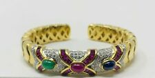 18K Yellow Gold Bangle with Assorted Ruby's, Diamonds, Emeralds, & Sapphires