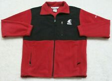 Columbia Fleece Red & Black Jacket Coat Medium Polyester Zip Front WSU Cougars