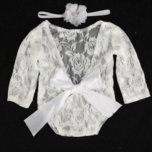 Newborn Baby Girl Clothes Lace Floral Romper Backless Bodysuit Photo Prop Set*