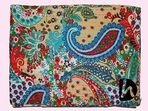 Indian Handmade Bedcover Ethnic Kantha Quilt King/Twin Blanket Cotton Bedspread