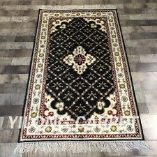 Yilong 3'x5' Geometric Pattern Handmade Carpets Hand Knotted Silk Area Rug W214C