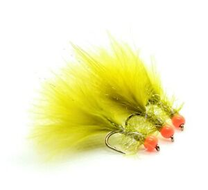 3 x Light Olive Damsel Marabou UV Fritz Trout Fly Orange Hot Head Size 12