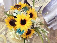 Sunflowers wedding bouquets bridal decorations aqua marine teal huge oasis