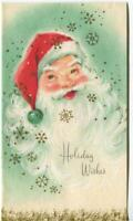 VINTAGE CHRISTMAS SANTA CLAUS GREEN RED GOLD SNOWFLAKES GLITTER GREETING CARD