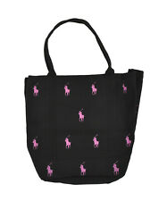 Polo Ralph Lauren Black Canvas Pink Pony Allover Logo Tote Bag New