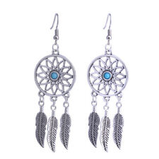 Dream Catcher Silver EARRINGS Spiritual BOHO Feathers Dreamcatcher DANGLE Drop