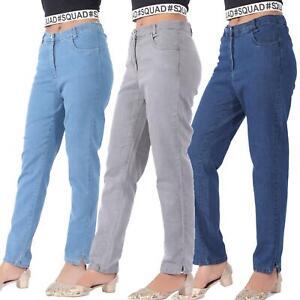 Womens Side Elastic Waist Jeans Ladies Straight Leg Regular Fit Denim Size 12-30