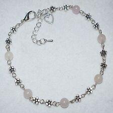 Rose Quartz Love Heart Shape Daisy Chain Flower Fashion Anklet Ankle Bracelet