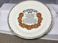 "PUMPKIN PIE RECIPE DEEP BAKING  DISH 11"" JEANNETTE VINTAGE ROYAL CHINA USA HEAVY"