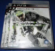 Lot of 3 Tom Clancy's Splinter Cell: Blacklist -Upper Echelon Ed. PS3 New!