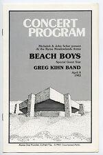Beach Boys Greg Kihn Authentic 1983 One-show only Concert Program