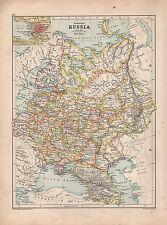 1901 Vittoriano MAP ~ Russia Europea ~ San Pietroburgo Finlandia Crimea Caucasia