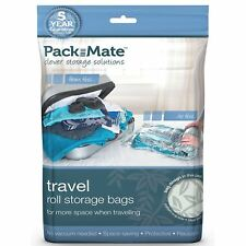 3 x Packmate Travel Roll Clothing Storage Bags Flat Pack - 1x Large & 2x Medium